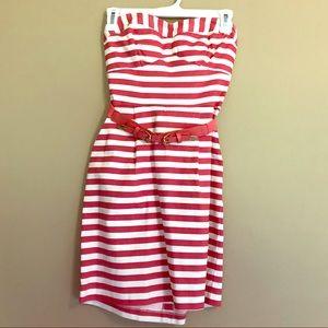 Coral/Pink and White Striped Strapless Dress